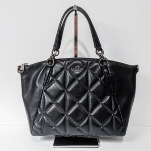 COACH Kelsey Small Quilted Satchel (F13951) Black